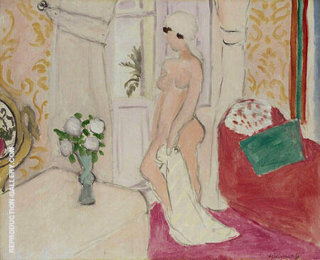 The Young Woman and the Vase of Flowers or The Pink Nude By Henri Matisse - Oil Paintings & Art Reproductions - Reproduction Gallery