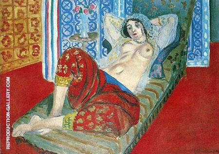 Odalisque with Red Culottes 1921 By Henri Matisse Replica Paintings on Canvas - Reproduction Gallery