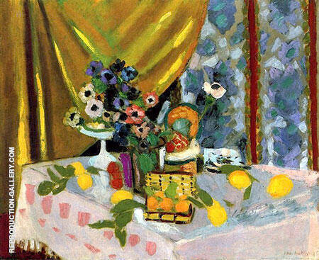 Still Life Pink Tablecloth Vase of Anemones Lemons and Pineapple 1925 By Henri Matisse Replica Paintings on Canvas - Reproduction Gallery