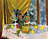 Still Life Pink Tablecloth Vase of Anemones Lemons and Pineapple 1925 By Henri Matisse