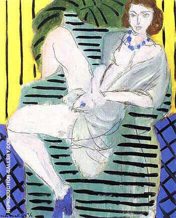 Woman in an Armchair on a Blue and Yellon Background 1936 By Henri Matisse