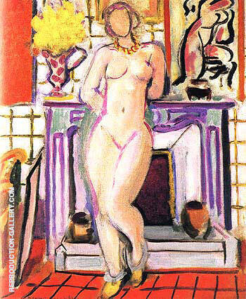 Nude beside a Fireplace 1936 Painting By Henri Matisse