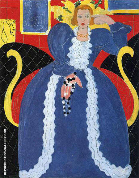 Woman in Blue The Large Blue Robe and Mimosas 1937 Painting By ...