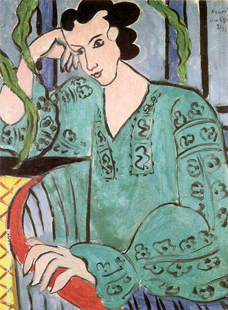 Green Rumanian Blouse 1939 By Henri Matisse Replica Paintings on Canvas - Reproduction Gallery