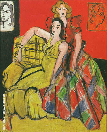 Two Girls The Yellow and Plaid Skirt 1941 By Henri Matisse - Oil Paintings & Art Reproductions - Reproduction Gallery