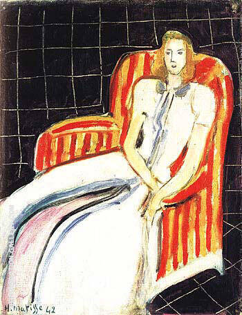 Simone in a Striped Armchair 1942 Painting By Henri Matisse