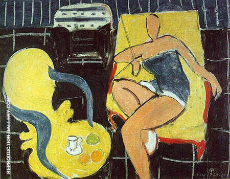 Dancer and Rocaille Armchair on a Black Background 1942 By Henri Matisse Replica Paintings on Canvas - Reproduction Gallery