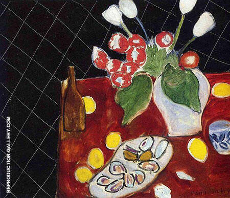 Tulips and Oysters on a Black Background 1943 By Henri Matisse Replica Paintings on Canvas - Reproduction Gallery