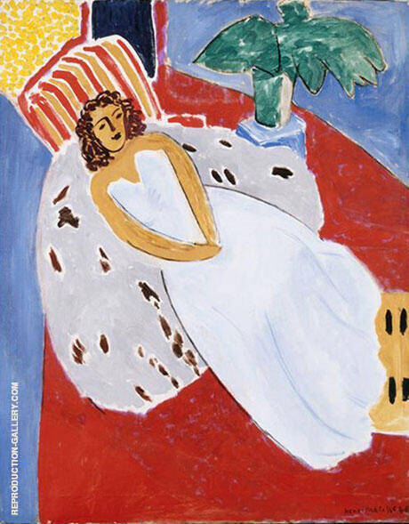 Young Woman in White Red Background 1946 By Henri Matisse - Oil Paintings & Art Reproductions - Reproduction Gallery
