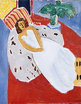 Young Woman in White Red Background 1946 By Henri Matisse
