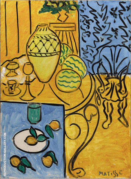 Interior in Yellow and Blue 1946 Painting By Henri Matisse