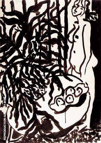 Composition with a Standing Nude and Black Fern 1948 Painting By ...