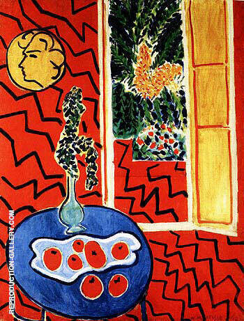 Red Interior Still Life on a Blue Table 1948 Painting By Henri Matisse