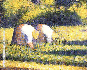 Farm Woman at Work (Paysannes au travail) Painting By Georges Seurat