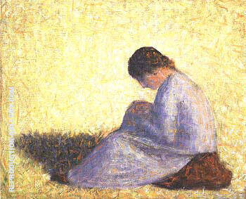 Seated Woman 1883 By Georges Seurat Replica Paintings on Canvas - Reproduction Gallery