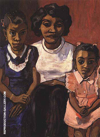 Black Spanish-American Family 1950 Painting By Alice Neel