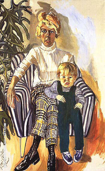 Mrs. Paul Gardner and Sam 1967 By Alice Neel Replica Paintings on Canvas - Reproduction Gallery
