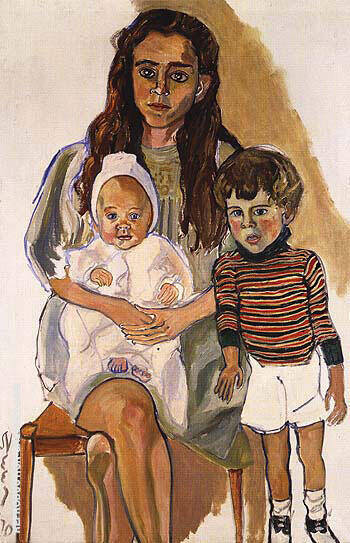 Julie and Children 1970 Painting By Alice Neel - Reproduction Gallery
