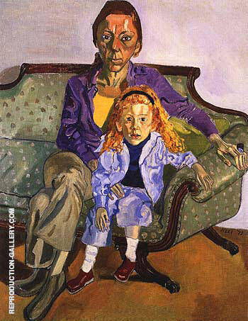 Linda Nochlin and Daisy 1973 Painting By Alice Neel - Reproduction Gallery