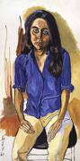 Ginny in Blue Shirt 1968 By Alice Neel