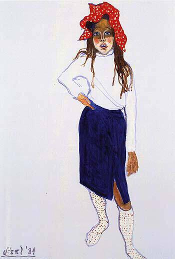 Elizabeth in Red Hat 1984 By Alice Neel