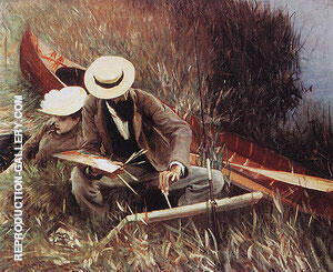 Paul Helleu Painting with His Wife 1889 By John Singer Sargent Replica Paintings on Canvas - Reproduction Gallery