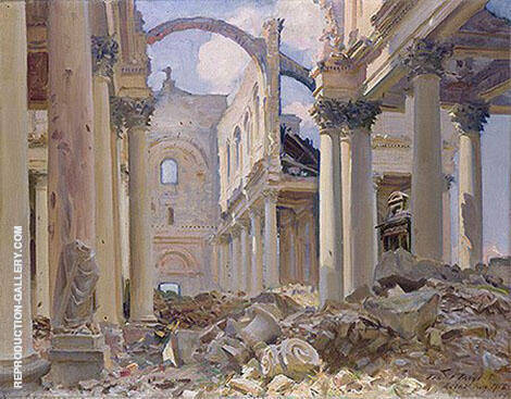 Ruined Cathedral Arras 1918 By John Singer Sargent - Oil Paintings & Art Reproductions - Reproduction Gallery
