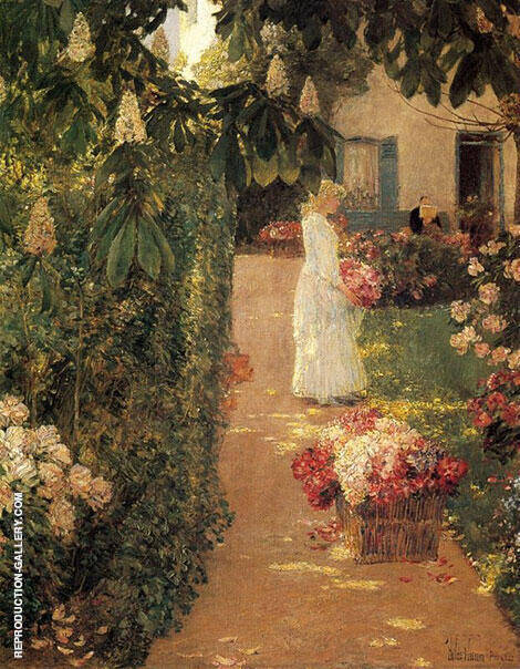 Reproduction of Gathering Flowers in a French Garden 1888 by Childe Hassam | Oil Painting Replica On CanvasReproduction Gallery