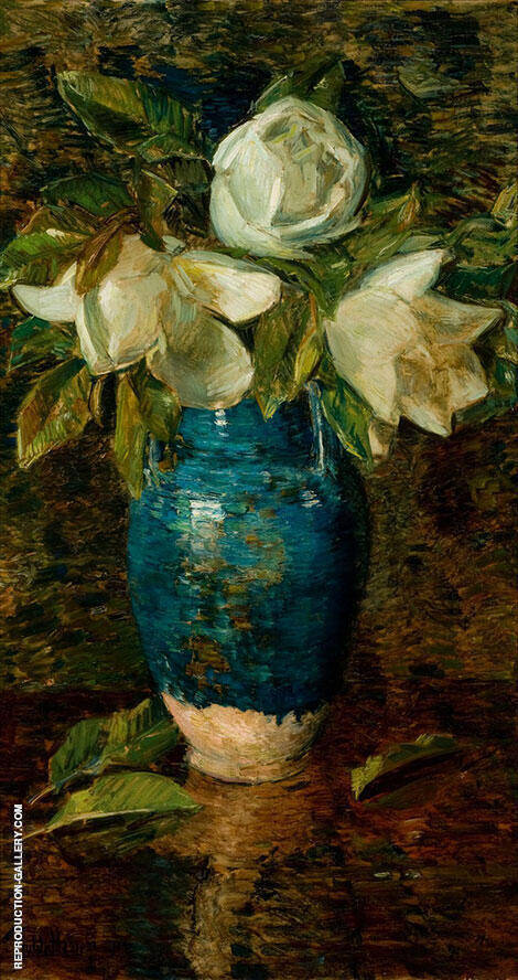 Giant Magnolias By Childe Hassam - Oil Paintings & Art Reproductions - Reproduction Gallery