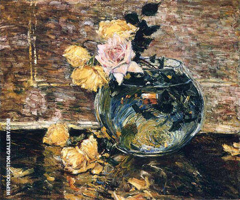 Roses in a Vase 1890 By Childe Hassam - Oil Paintings & Art Reproductions - Reproduction Gallery