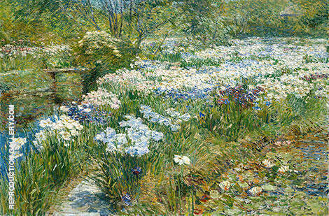 The Water Garden 1909 Painting By Childe Hassam - Reproduction Gallery