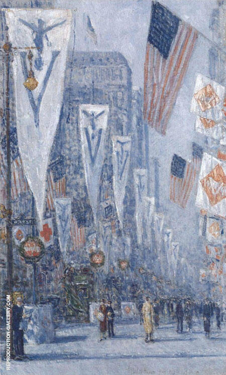 Victory Day May 1919 By Childe Hassam Replica Paintings on Canvas - Reproduction Gallery