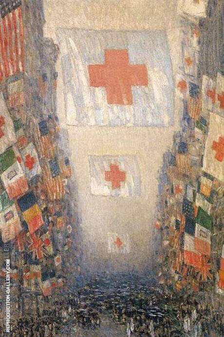 Red Cross Drive May 1918 Celebration Day Painting By Childe Hassam