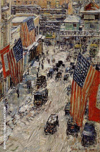 Flags on Fifty Seventh Street The Winter of 1918 By Childe Hassam