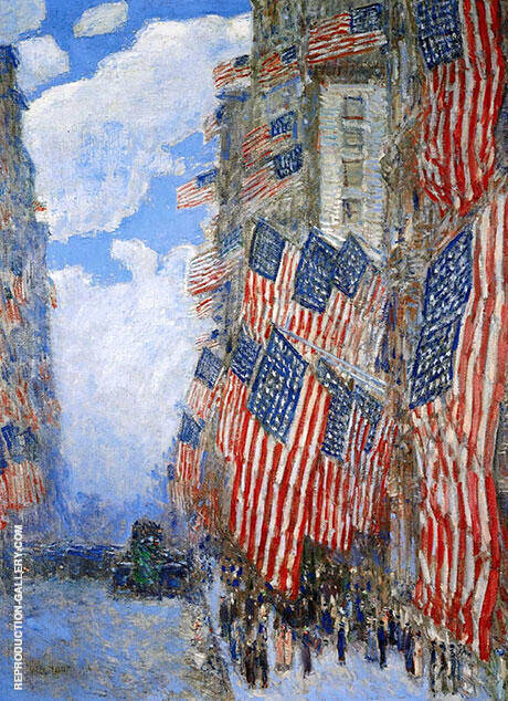 Fourth of July 1916 Greatest Display of the American Flag Ever Seen New York Parade May 1916 By Childe Hassam