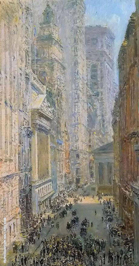 Lower Manhattan View Down Broad Street By Childe Hassam - Oil Paintings & Art Reproductions - Reproduction Gallery