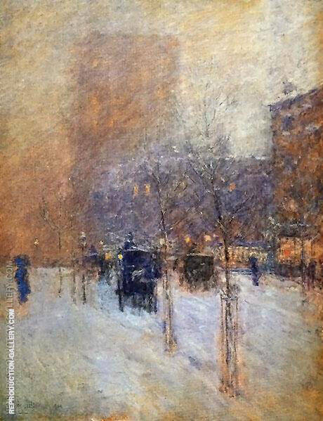 Late Afternoon New York Winter 1900 By Childe Hassam - Oil Paintings & Art Reproductions - Reproduction Gallery