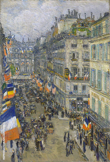 Reproduction of July Fourteenth Rue Daunou 1910 by Childe Hassam | Oil Painting Replica On CanvasReproduction Gallery