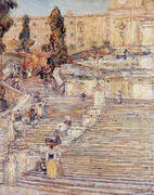 The Spanish Stairs Rome 1897 By Childe Hassam