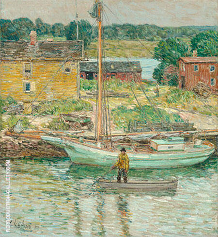 Oyster Sloop Cos Cob 1902 Painting By Childe Hassam - Reproduction Gallery