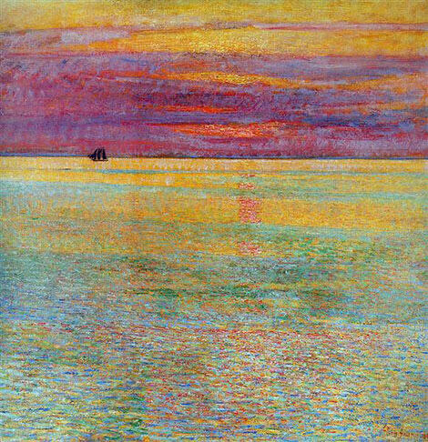 Sunset at Sea 1911 By Childe Hassam - Oil Paintings & Art Reproductions - Reproduction Gallery