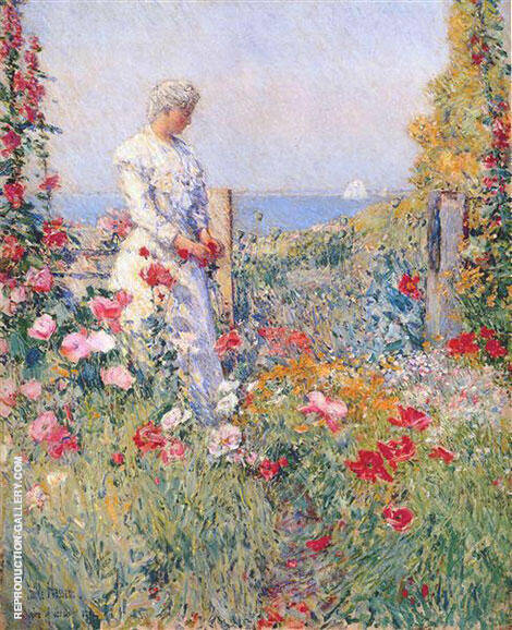 In the Garden Celia Thaxter in Her Garden 1892 Painting By Childe Hassam