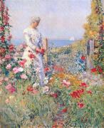 In the Garden Celia Thaxter in Her Garden 1892 By Childe Hassam