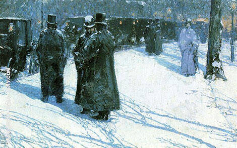 Cab Stand at Night Madison Square 1891 By Childe Hassam - Oil Paintings & Art Reproductions - Reproduction Gallery