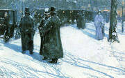 Cab Stand at Night Madison Square 1891 By Childe Hassam