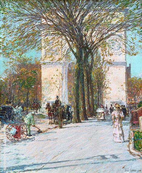 Washington Arch Spring 1893 By Childe Hassam Replica Paintings on Canvas - Reproduction Gallery