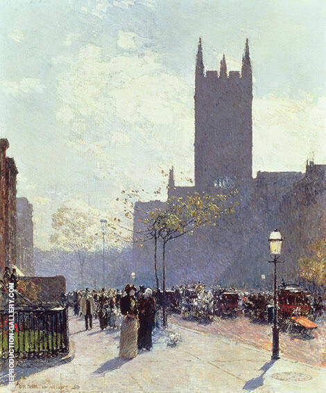 Lower Fifth Avenue 1890 By Childe Hassam Replica Paintings on Canvas - Reproduction Gallery