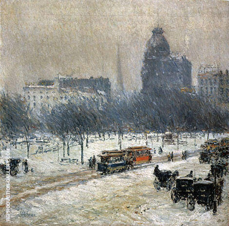 Winter in Union Square 1889 By Childe Hassam