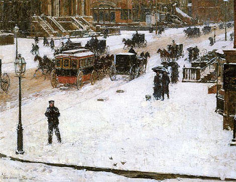 Fifth Avenue in Winter 1890 By Childe Hassam - Oil Paintings & Art Reproductions - Reproduction Gallery