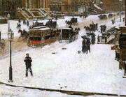 Fifth Avenue in Winter 1890 By Childe Hassam